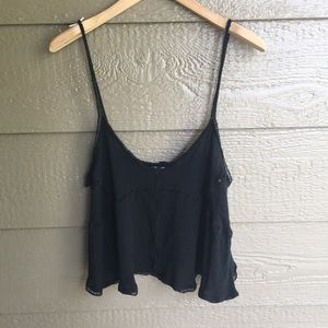 Tobi boho black cropped tank top